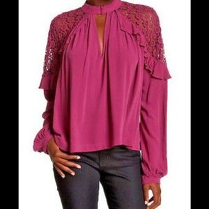 Free People Lace Inset Ruffle Blouse Top XS